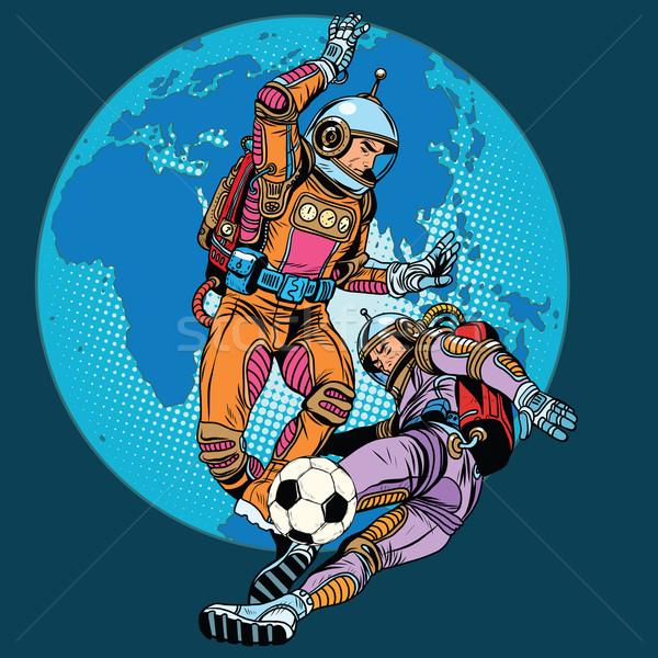 Football soccer match astronauts play Stock photo © studiostoks