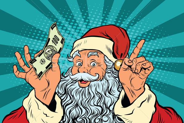 Santa Claus with money, New year and Christmas Stock photo © studiostoks