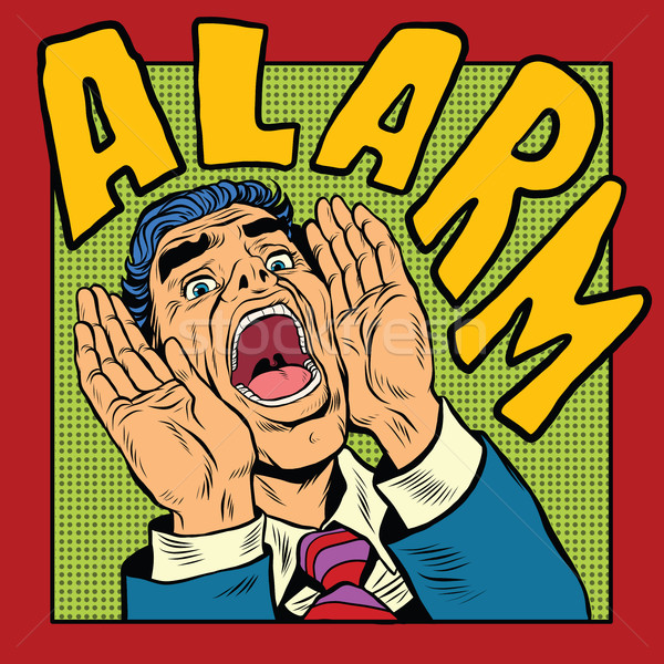 Alarm screams pop art man Stock photo © studiostoks