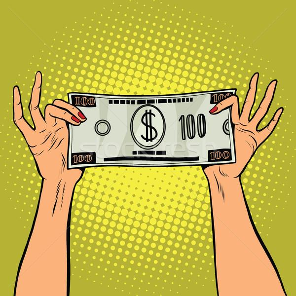 Feminino mãos cem dólar projeto de lei Foto stock © studiostoks