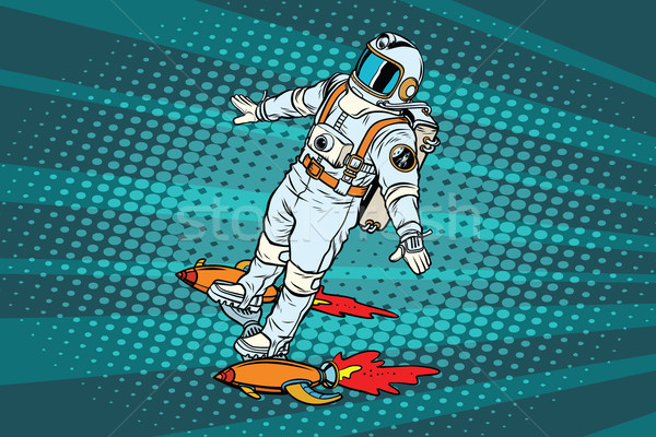 The astronaut is flying on a space rocket skateboard Stock photo © studiostoks