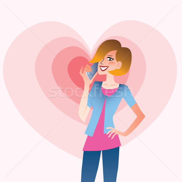Young smiling woman talking on the phone heart Stock photo © studiostoks