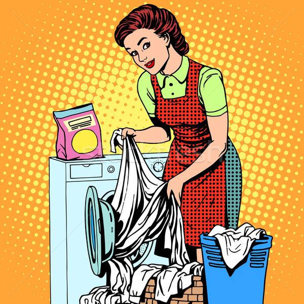 Femme vêtements machine à laver pop art style rétro ménagère Photo stock © studiostoks