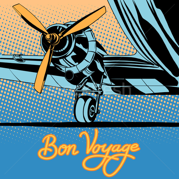 Bon voyage retro travel airplane poster Stock photo © studiostoks