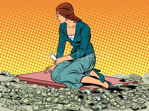 Zakenvrouw zeemeermin vergadering geld pop art retro-stijl Stockfoto © studiostoks