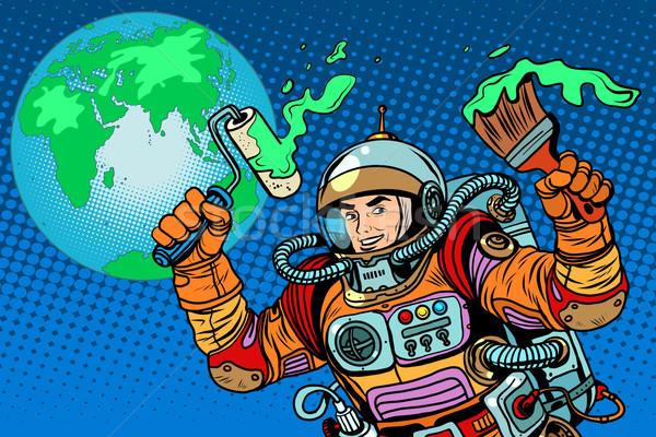 green Earth ecology astronaut Stock photo © studiostoks