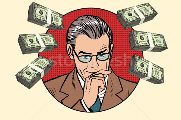 üzletember pénz pop art retro vektor bankár Stock fotó © studiostoks