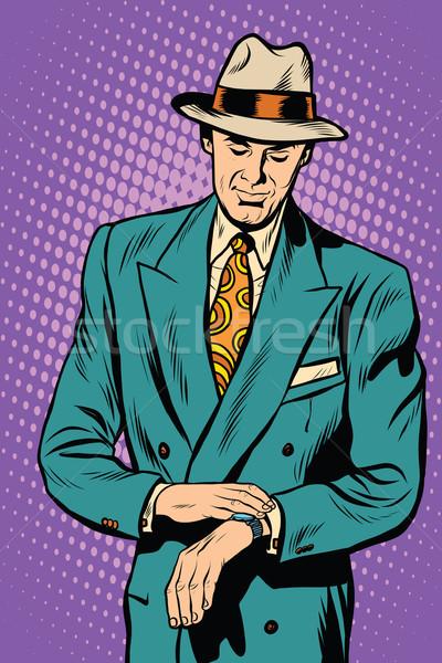 Retro business male wristwatch time Stock photo © studiostoks