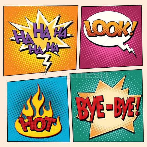 set comic pop art bubbles with text Stock photo © studiostoks