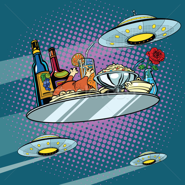 Flying a dinner tray and UFO Stock photo © studiostoks