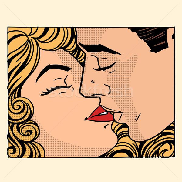 Retro csók férfi nő szeretet pár Stock fotó © studiostoks