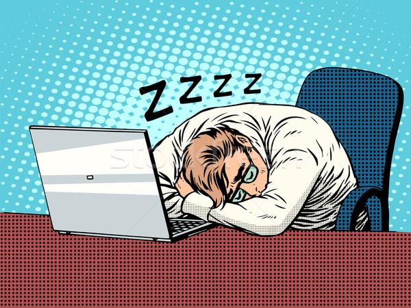 Işadamı çalışma dizüstü bilgisayar yorgunluk uyku pop art Stok fotoğraf © studiostoks
