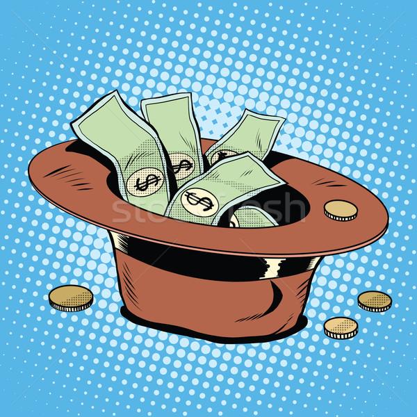 Hoed donaties armoede liefdadigheid pop art retro-stijl Stockfoto © studiostoks