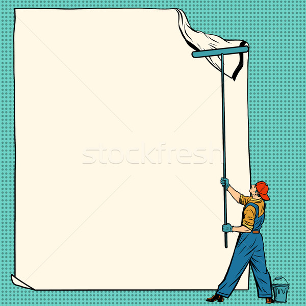 worker painter sticks white poster Stock photo © studiostoks
