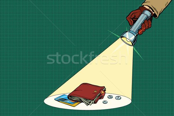 Détective lampe de poche poutre portefeuille pop art rétro Photo stock © studiostoks