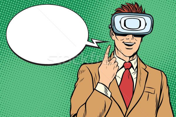 Businessman in VR glasses, the idea Stock photo © studiostoks