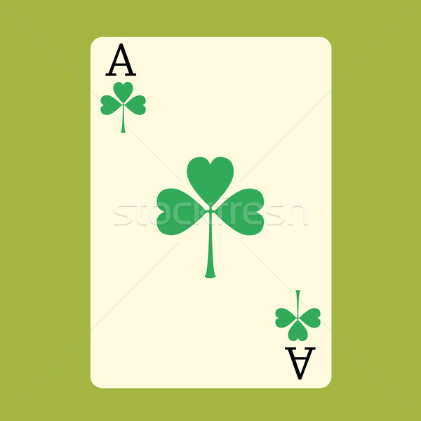 Playing card ACE with a green Shamrock Patrick day Stock photo © studiostoks