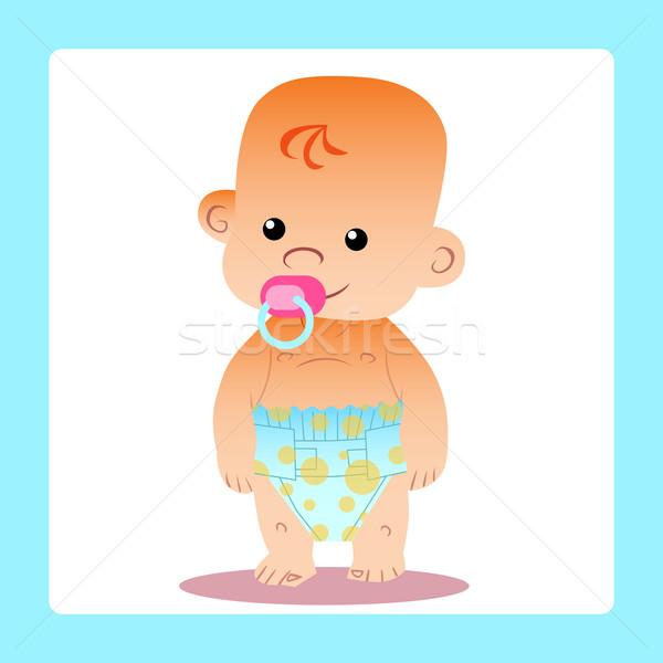 Mutlu bebek emzik bebek bezleri gülümseme kırmızı Stok fotoğraf © studiostoks