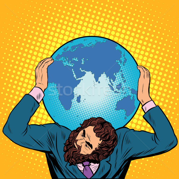 Atlas businessman holds the Earth on his shoulders Stock photo © studiostoks