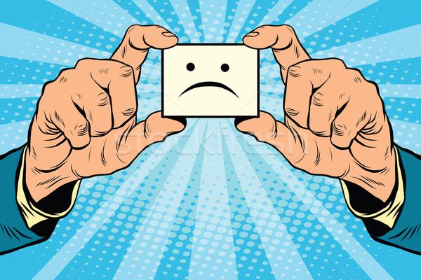 Tristesse mains pop art rétro visage Photo stock © studiostoks