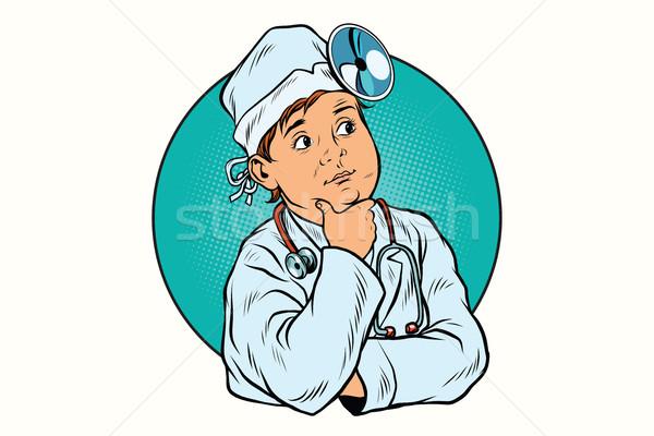 Garçon profession médecin pop art rétro médecine Photo stock © studiostoks