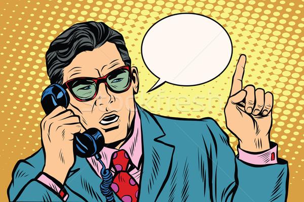 Business boss parlando telefono retro pop art Foto d'archivio © studiostoks