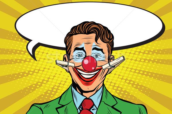 ストックフォト: ピエロ · 顔 · 笑顔 · ポップアート · レトロな · サーカス