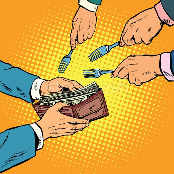 Corruptie diefstal geld pop art retro man Stockfoto © studiostoks