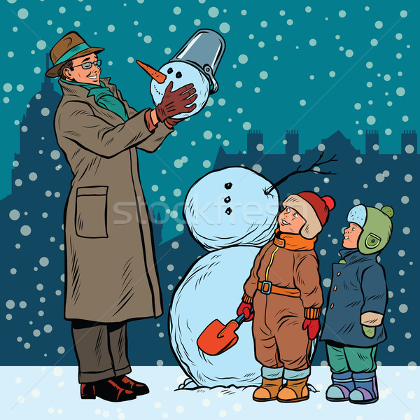 Children and male mold snowman Stock photo © studiostoks