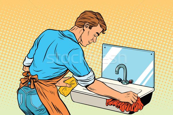 Home cleaning washing kitchen sinks, man works Stock photo © studiostoks
