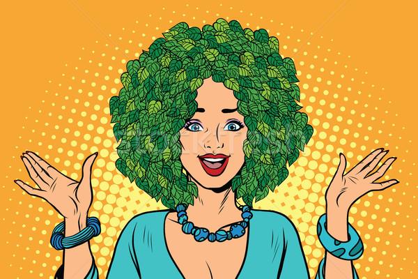Eco vrouw haren groene planten natuur Stockfoto © studiostoks