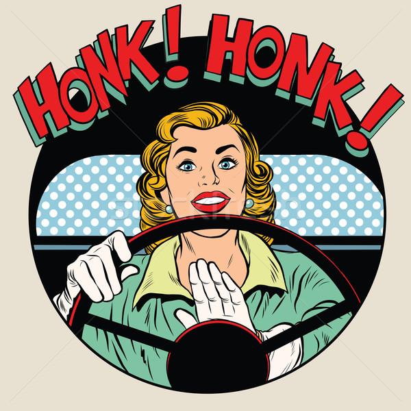 車両 ホーン ドライバ 女性 ポップアート レトロスタイル ストックフォト © studiostoks