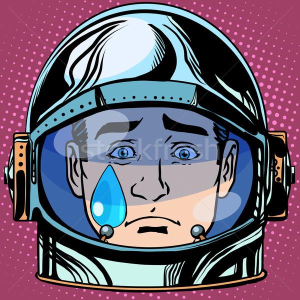 Smutek łzy twarz człowiek astronauta Zdjęcia stock © studiostoks