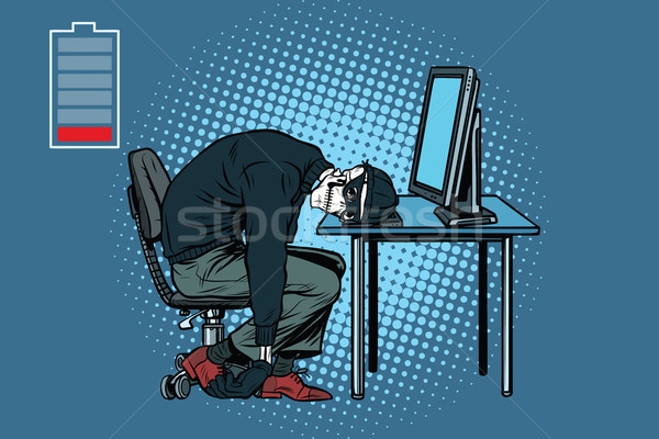 Stockfoto: Dode · hacker · skelet · computer · pop · art · retro