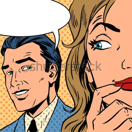 Homem mulher falante estilo retro flertar Foto stock © studiostoks