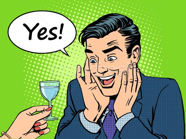öröm férfiak férfi üveg bor italok Stock fotó © studiostoks