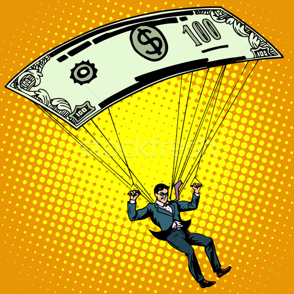 Dorado paracaídas negocios efectivo arte pop estilo retro Foto stock © studiostoks