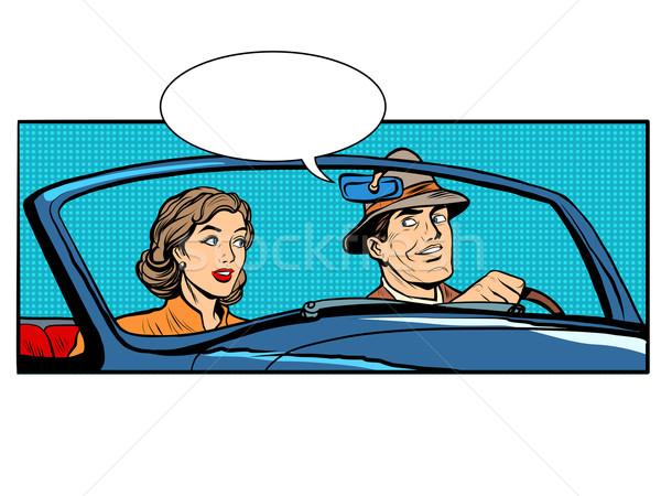 Couple man and woman in convertible car Stock photo © studiostoks