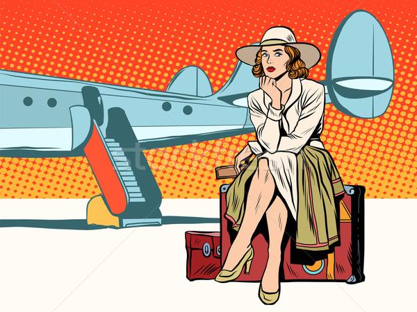 観光 少女 座って スーツケース 旅行 平面 ストックフォト © studiostoks