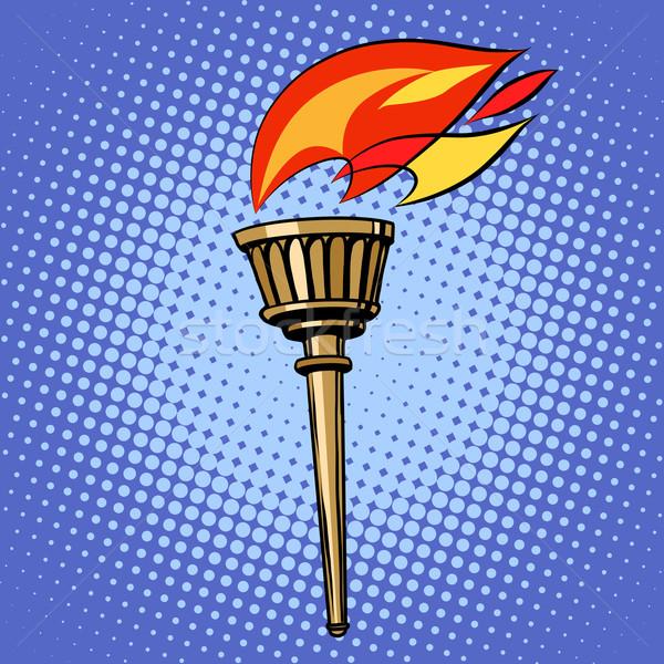 Sport lampe de poche feu pop art style rétro été Photo stock © studiostoks