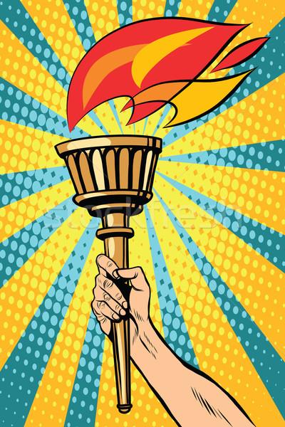 Vecteur lampe de poche feu main pop art style rétro Photo stock © studiostoks