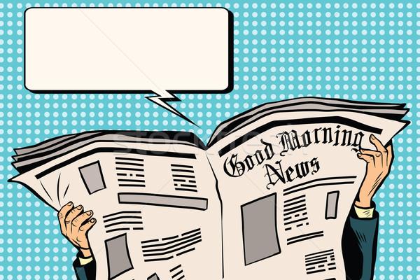 Basın gazete okumak haber pop art Retro Stok fotoğraf © studiostoks