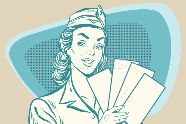 Retro stewardess with ticket Stock photo © studiostoks