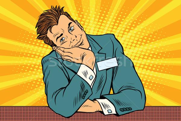 бизнесмен менеджера консьерж Мечты Поп-арт ретро Сток-фото © studiostoks