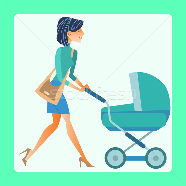 young mother with a baby carriage Stock photo © studiostoks