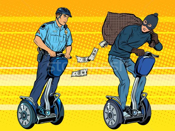 Ladro soldi polizia pop art stile retrò inseguimento Foto d'archivio © studiostoks