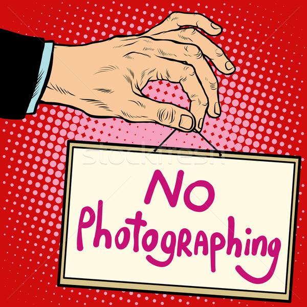 Kézjel nem pop art retró stílus tányér név Stock fotó © studiostoks