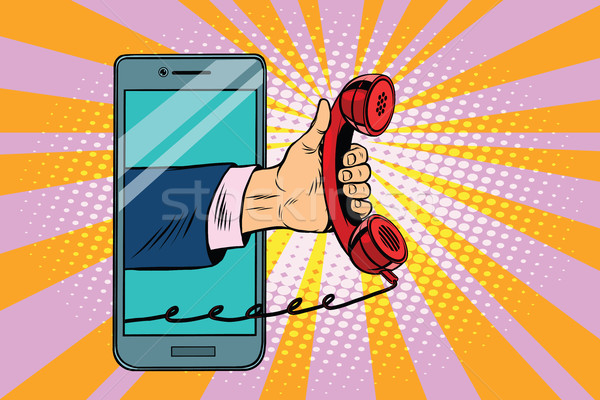 mobile retro handset, modern smartphone Stock photo © studiostoks