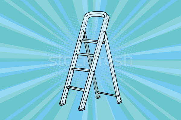 Aluminum ladder for repairs in the house Stock photo © studiostoks