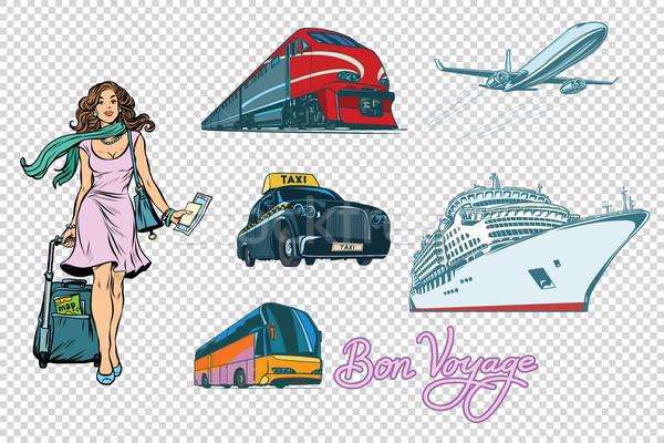 Stockfoto: Toeristische · vervoer · ingesteld · geïsoleerd · vrouw · tour